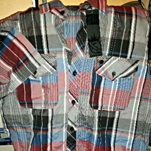 Men's Lost Short Sleeve Plaid Shirt Sz M NEW
